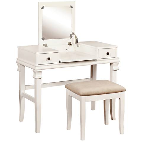 Angela White 2-Piece Vanity Table Set