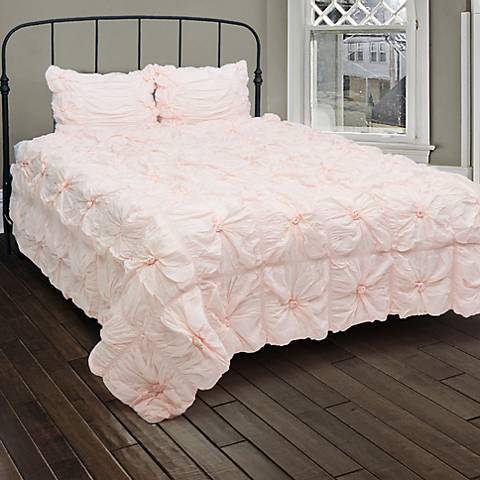 Plush Dreams Pink Ruched Comforter Set