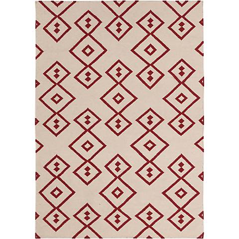 Chandra Lima LIM25711 Beige and Red Wool Area Rug