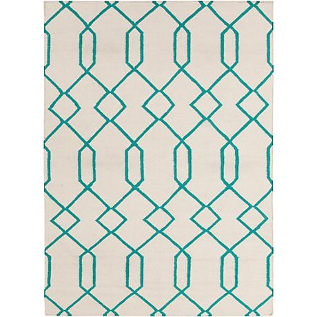 Chandra Lima LIM25713 Beige and Blue Wool Area Rug