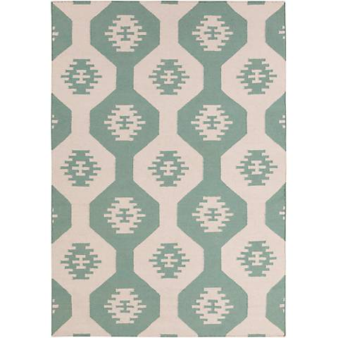 Chandra Lima LIM25717 Blue and Beige Wool Area Rug