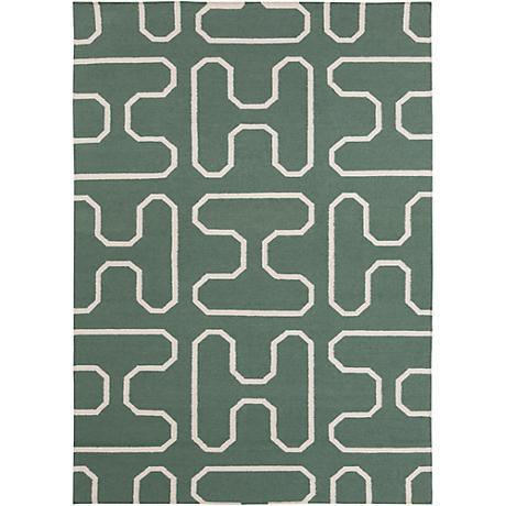 Chandra Lima LIM25732 Green Wool Area Rug