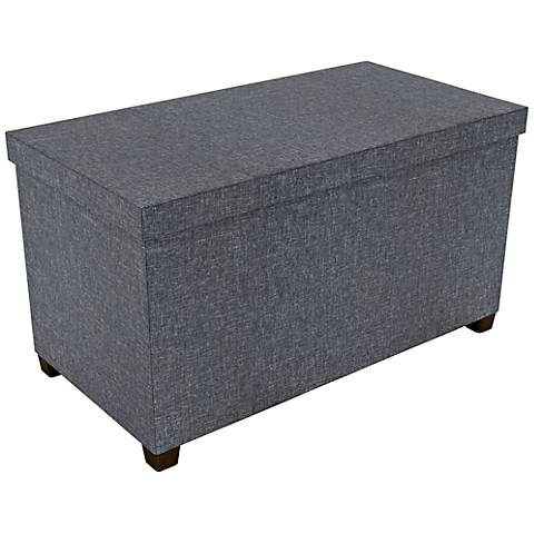 Standard Dark Gray Fabric Rectangular Storage Bench
