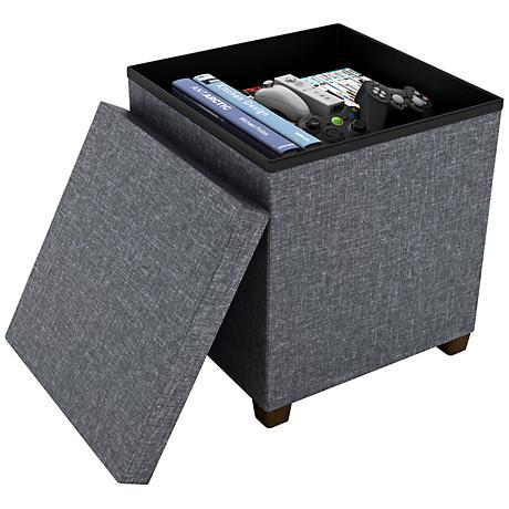 Standard Dark Gray Fabric Square Storage Ottoman