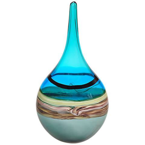 """Luckey Gray, Aqua, Amber and Brown Hand-Blown 22"""" Glass Vase"""