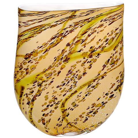 """Idabel Amber with Lime Green Hand-Blown 15"""" High Glass Vase"""