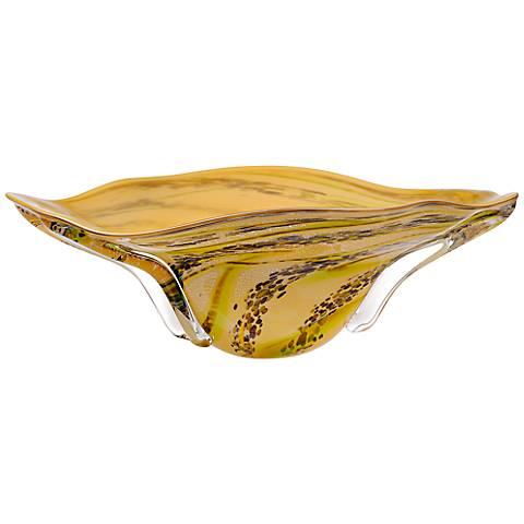 Idabel Amber with Lime Green Hand-Blown Glass Bowl