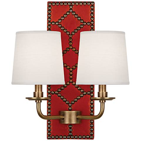 Lightfoot Aged Brass Orange Leather 2-Light Sconce