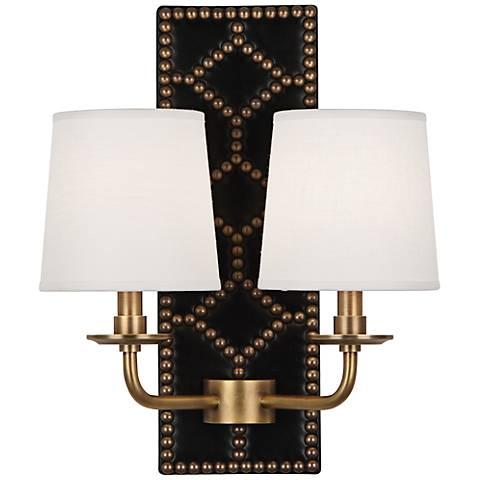 Lightfoot Aged Brass Black Leather 2-Light Sconce