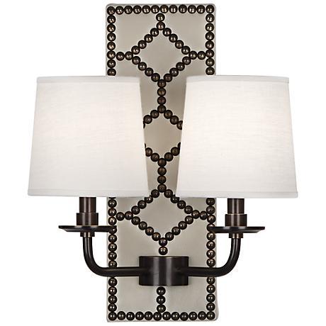 Lightfoot Deep Patina Bronze White Leather 2-Light Sconce