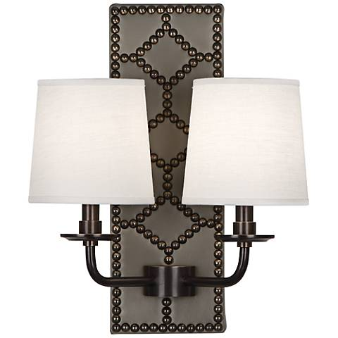 Lightfoot Deep Patina Bronze Gray Leather 2-Light Sconce