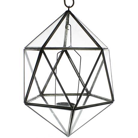 "Pierre Hanging Glass 7 1/2"" Wide Icosahedron Luminaria"