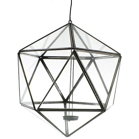 "Pierre Hanging Glass 9 1/4"" Wide Icosahedron Luminaria"