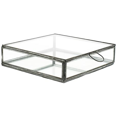 Pierre Medium Clear Glass Box with Mirror Bottom