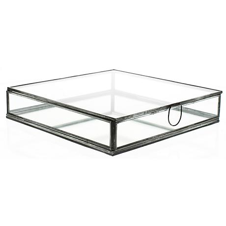 Pierre Large Clear Glass Box with Mirror Bottom