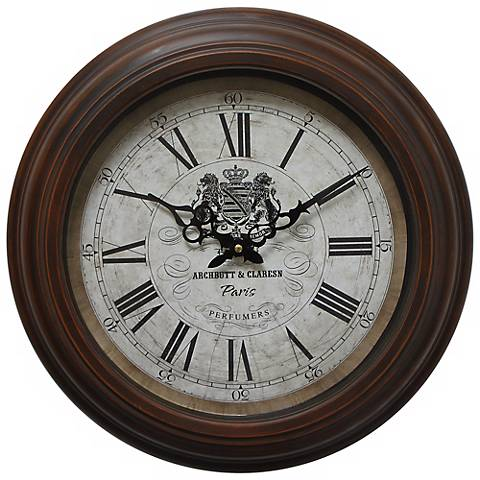"Archbutt and Claresn Brown 17"" Round Wall Clock"