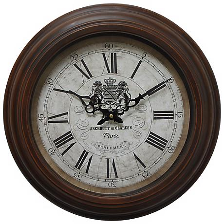 """Archbutt and Claresn Brown 17"""" Round Wall Clock"""
