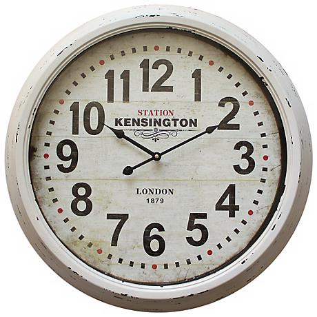 "Edgeley Distressed White 23 3/4"" Round Wall Clock"