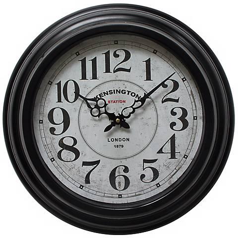 "Kirby Distressed Black 17"" Round Wall Clock"