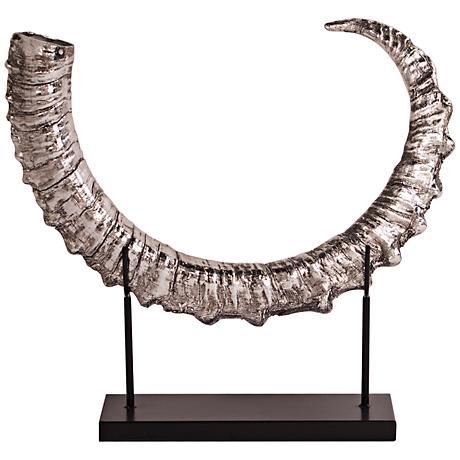"Howard Elliott Silver Horn 22"" High Sculpture"