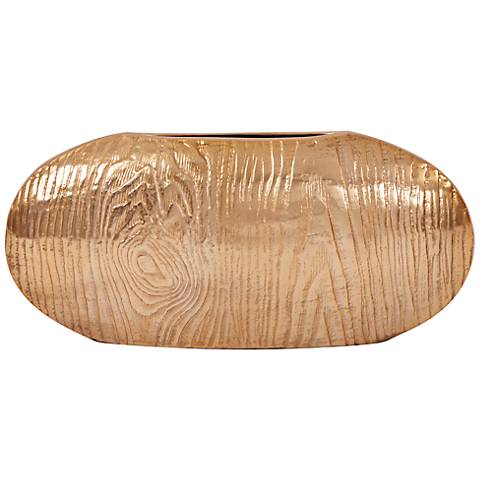 """Howard Elliott Medium Textured Gold 8"""" High Oval Vase"""