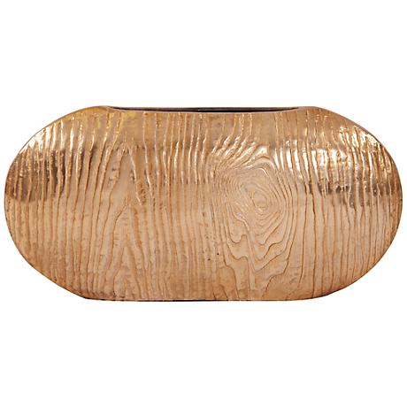 "Howard Elliott Large Textured Gold 10"" High Oval Vase"