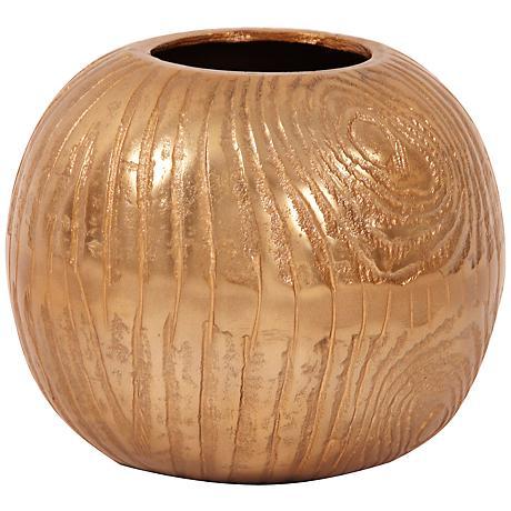 "Howard Elliott Small Textured Gold 6"" High Round Vase"