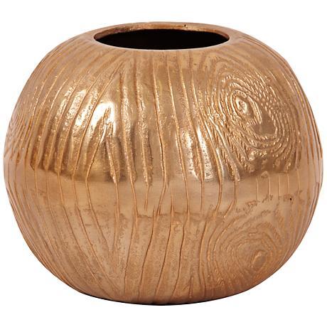 "Howard Elliott Medium Textured Gold 8"" High Round Vase"