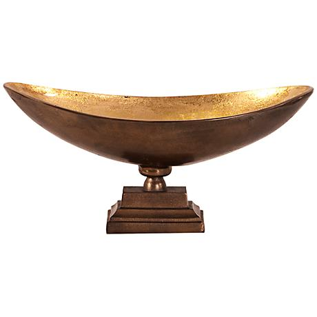 Howard Elliott Large Bronze with Gold Oblong Footed Bowl