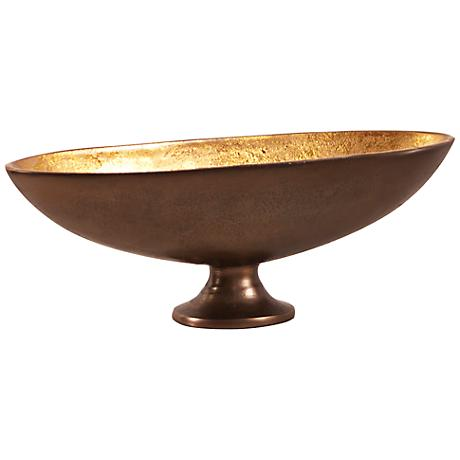 Howard Elliott Small Bronze with Gold Oblong Footed Bowl