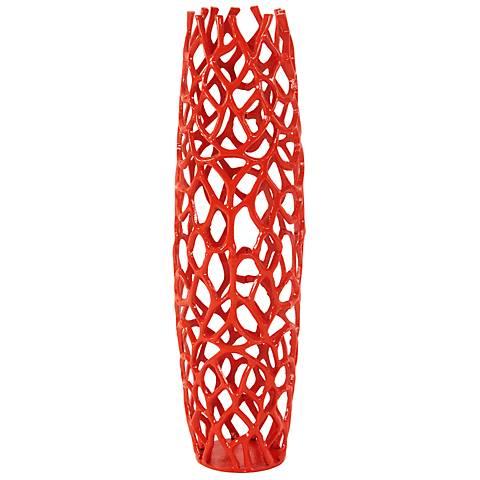 """Howard Elliott Small Bright Coral Red 32"""" High Floor Vase"""