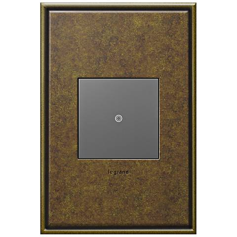adorne Aged Brass 1-Gang Cast Metal Wall Plate with Switch