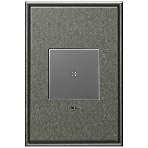 adorne Brushed Pewter 1-Gang Cast Metal Wall Plate w/ Switch