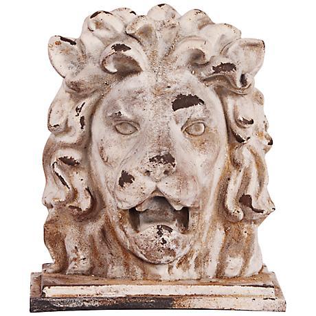"Howard Elliott Rustic Stone 16"" High Lion Head Sculpture"