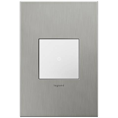 adorne Brushed Stainless 1-Gang Real Metal Wall Plate w/ Switch