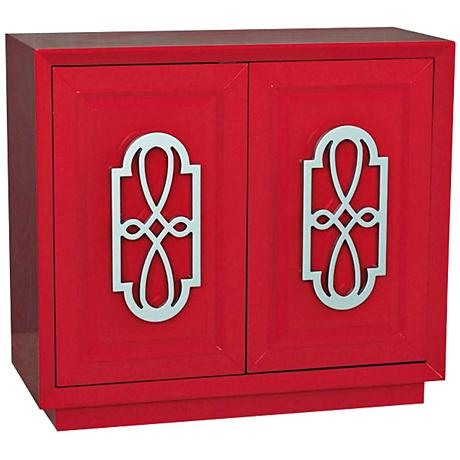 Pulaski Mitchel Fretwork Bold Red 2-Door Accent Chest