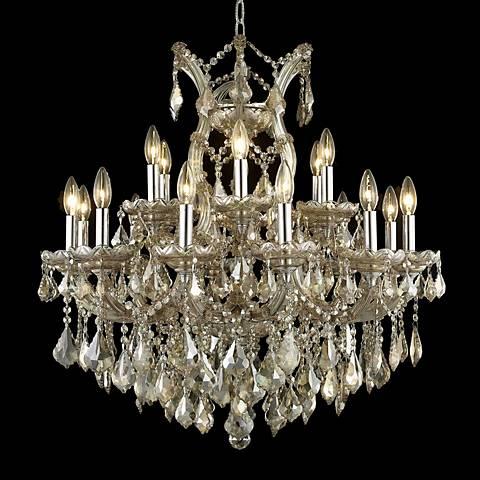 """Maria Theresa 30"""" Wide Golden Teak Crystal Chandelier"""