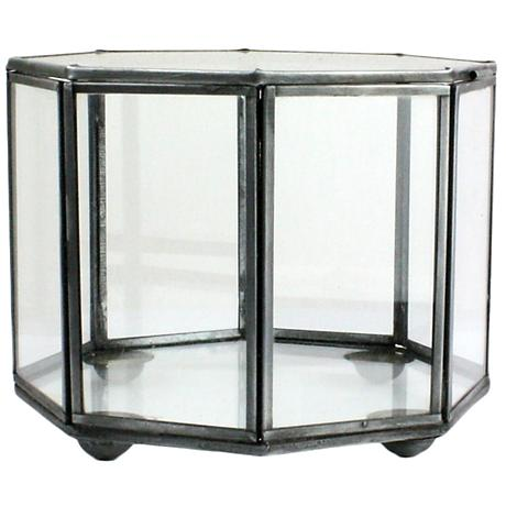 Pierre Eight-Sided Clear Glass Faceted Trinket Box