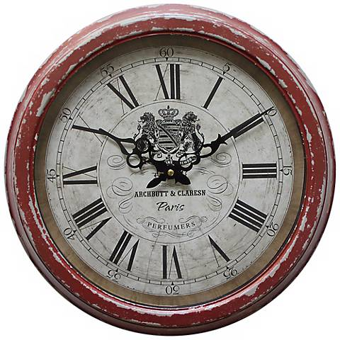 """Archbutt and Claresn Red 17"""" Round Wall Clock"""