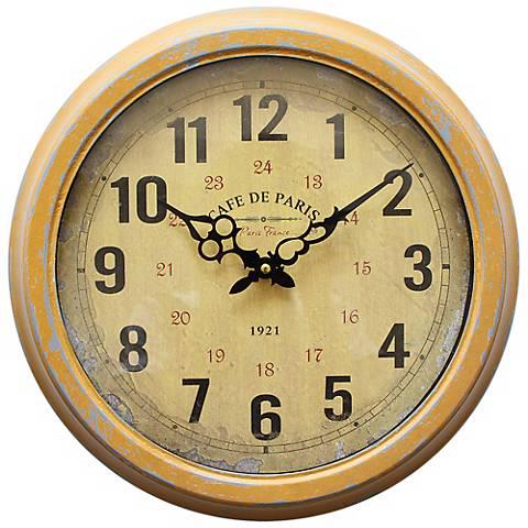 "Cafe de Paris Yellow 16"" Round Wall Clock"