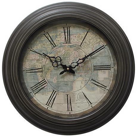 "Mundo Map Dark Brown 17"" Round Wall Clock"