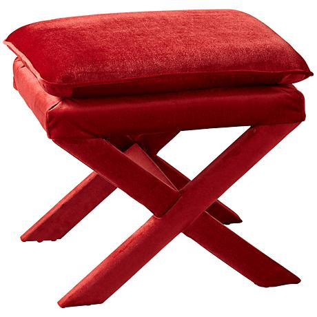 Otto Red Velvet Contemporary Accent Stool