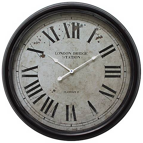 "London Bridge Tavern Black 24 1/2"" Round Wall Clock"
