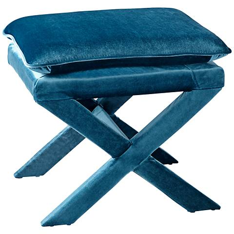 Otto Blue Velvet Contemporary Accent Stool