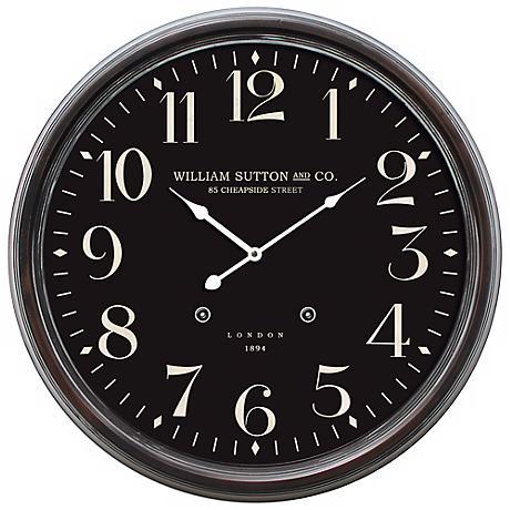 """William Sutton Dark Brown 24 1/2"""" Round Wall Clock"""
