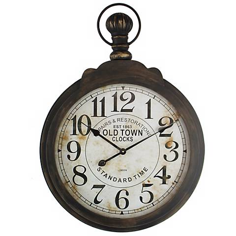 "Old Town Distressed Brown 23 1/2"" Round Wall Clock"