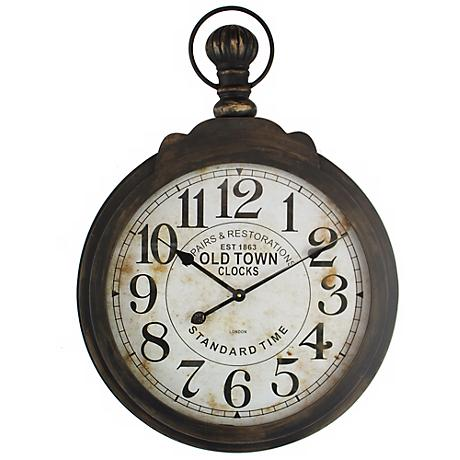 """Old Town Distressed Brown 23 1/2"""" Round Wall Clock"""