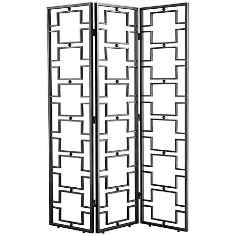 Agape Black Iron Geometric Pattern Room Divider