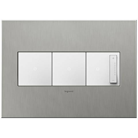 Brushed Stainless 3-Gang Wall Plate w/ 2 Switches and Dimmer
