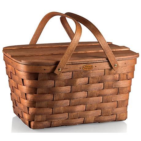 Prairie Natural Wood Picnic Basket